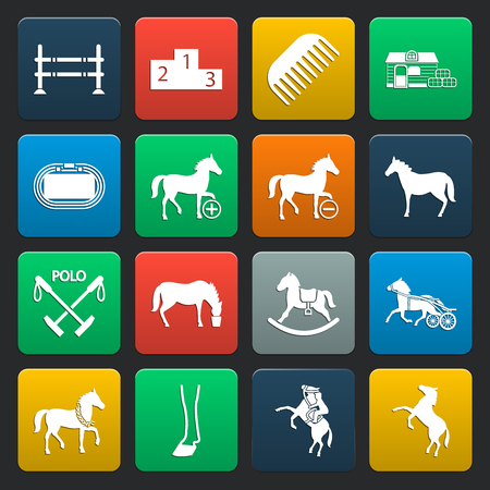 chariot: horse 16 simple icons set for web design