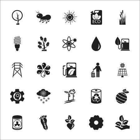 Bio, Eco, Bio, Natur 25 schwarz einfache Symbole für Web-Design
