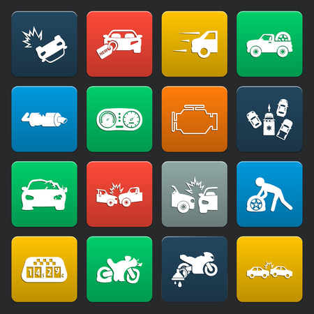 explosion engine: car, accident 16 simple icons set for web design