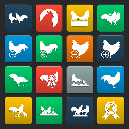 coop: Rooster, chicken 16 simple icons set for web design