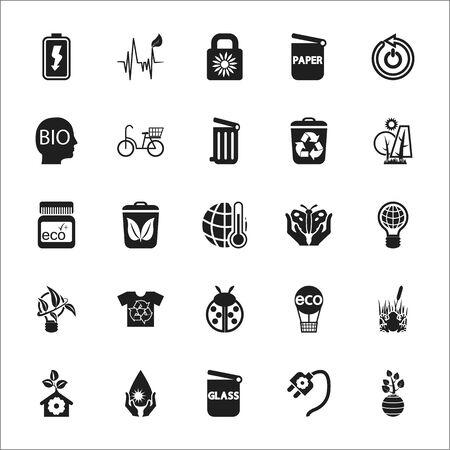 ecology: Organic, Eco, Bio, nature 25 black simple icons set for web design
