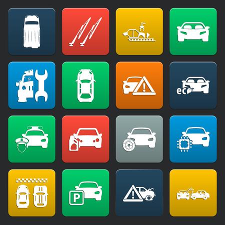 silhouette voiture: voiture, accident 16 icônes simples fixés pour la conception web