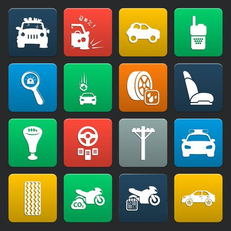 a white police motorcycle: car, accident 16 simple icons set for web design