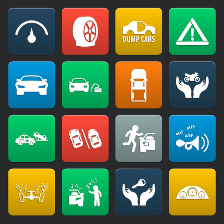 panel van: car, accident 16 simple icons set for web design
