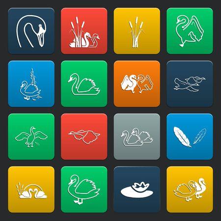 swan lake: swan 16 simple icons set for web design Illustration