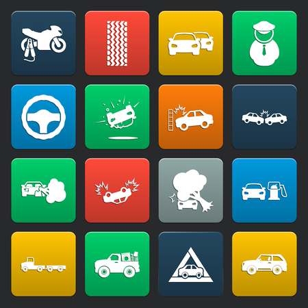 breaking wheel: car, accident 16 simple icons set for web design