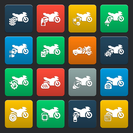 moto: Moto, motorcycle 16 simple icons set for web design