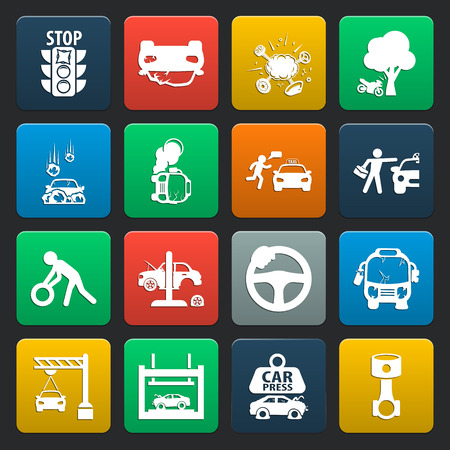 car, accident 16 simple icons set for web design 向量圖像