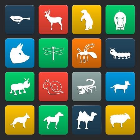 16: 16 simple icons set for web design Illustration
