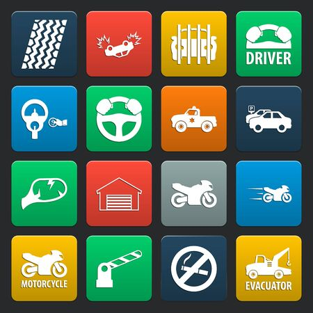 16: car, accident 16 simple icons set for web design