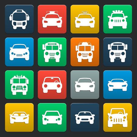 16: transportation, car 16 simple icons set for web design