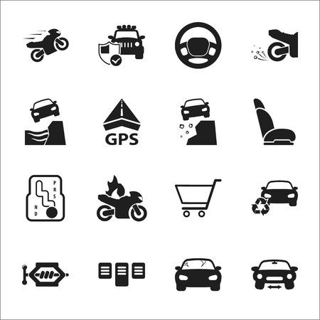 skidding: car, accident 16 black simple icons set for web design