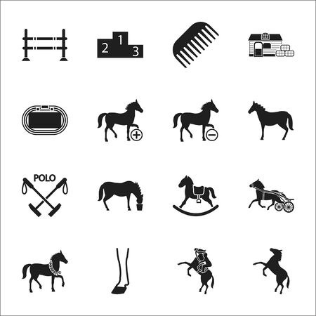 horse 16 black simple icons set for web design