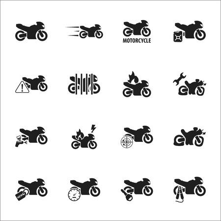 Moto, motorcycle 16 black simple icons set for web design Illustration