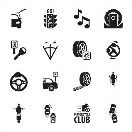 calibration: car, accident 16 black simple icons set for web design