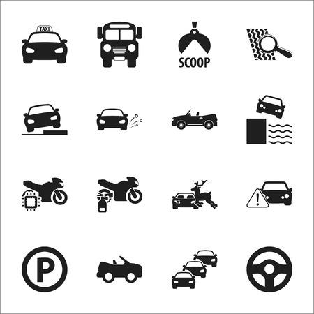 car, accident 16 black simple icons set for web design