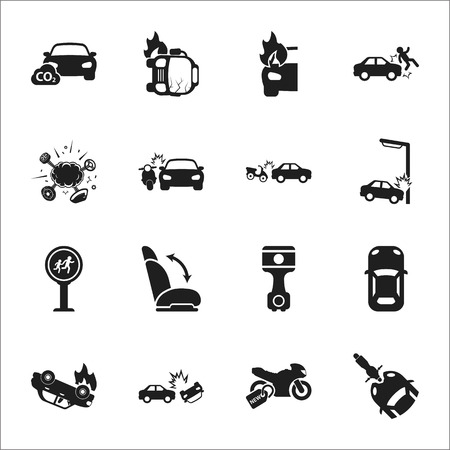 broken down: car, accident 16 black simple icons set for web design