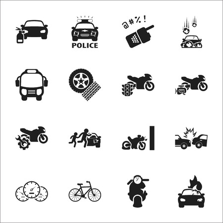 rockfall: car, accident 16 black simple icons set for web design
