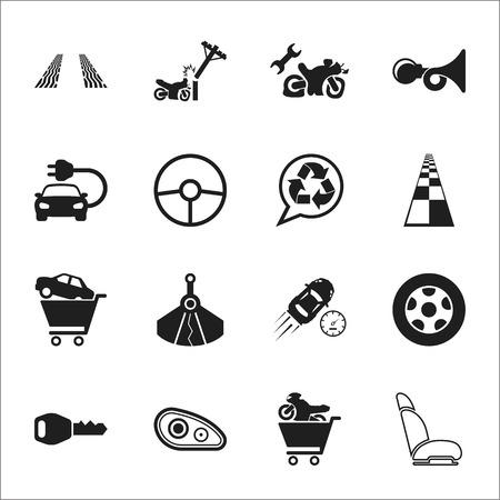 signal pole: car, accident 16 black simple icons set for web design