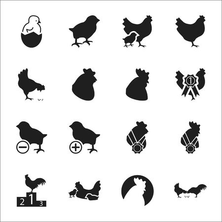 chicken coop: Rooster, chicken 16 black simple icons set for web design