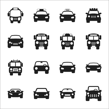 automobile tire: transportation, car 16 black simple icons set for web design