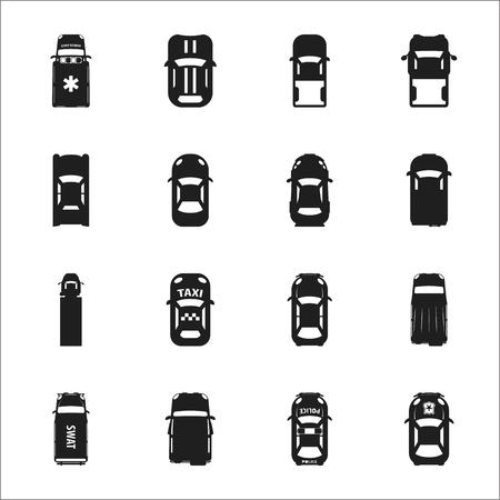 16: transportation, car 16 black simple icons set for web design