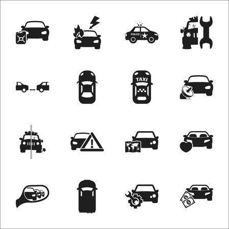 auto-ongeluk 16 zwarte eenvoudige pictogrammen voor web design Stock Illustratie