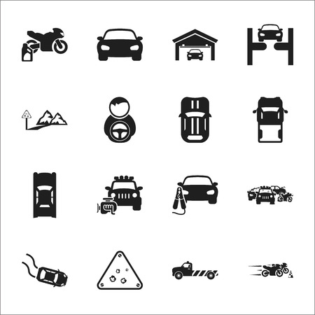 chauffeur: car, accident 16 black simple icons set for web design