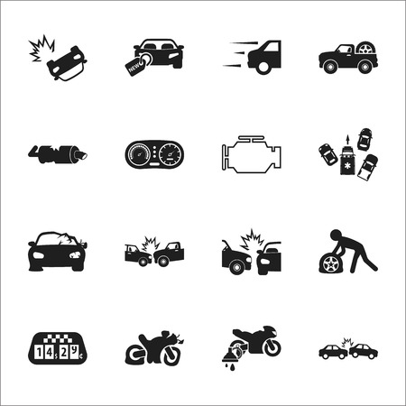 explosion engine: car, accident 16 black simple icons set for web design