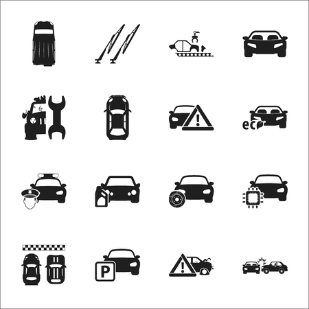 wipers: car, accident 16 black simple icons set for web design