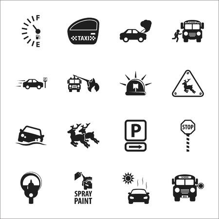 16: car, accident 16 black simple icons set for web design