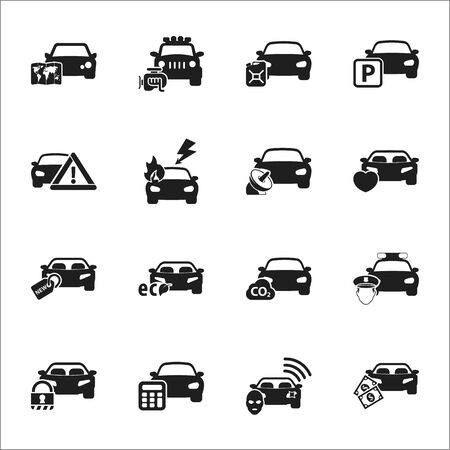 burglar alarm: transportation, car 16 black simple icons set for web design
