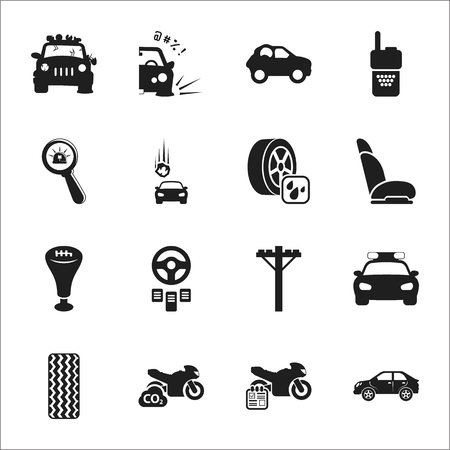 motorcycle officer: car, accident 16 black simple icons set for web design