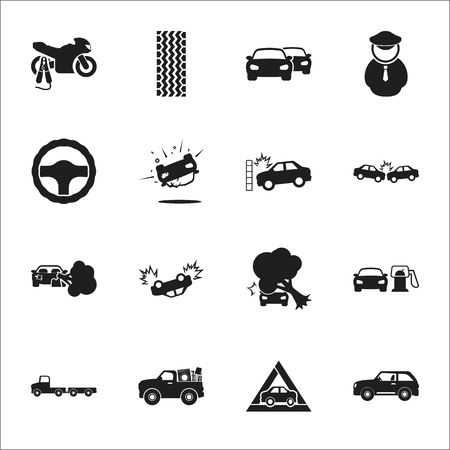 breaking wheel: car, accident 16 black simple icons set for web design