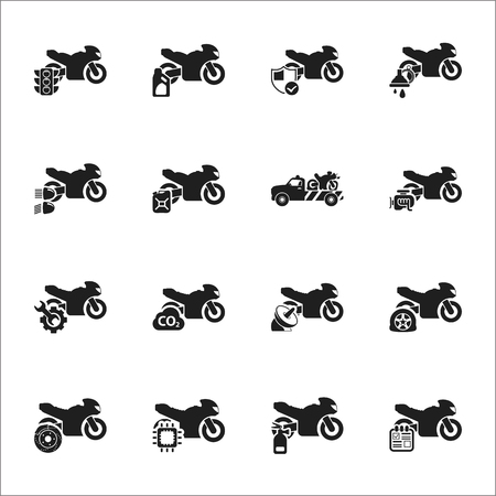moto: Moto, motorcycle 16 black simple icons set for web design Illustration