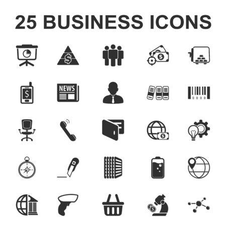 business, finance 25 black simple icon set for web design Vetores