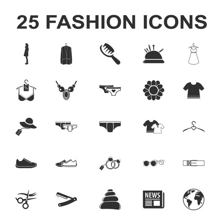 camisole: beauty, shopping, fashion 25 black simple icon set for web design Illustration