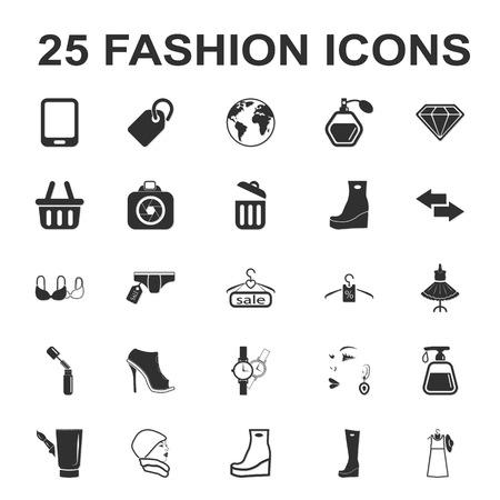 beauty, shopping, fashion 25 black simple icon set for web design Illustration