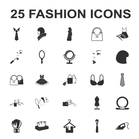 black wigs: beauty, shopping, fashion 25 black simple icon set for web design Illustration