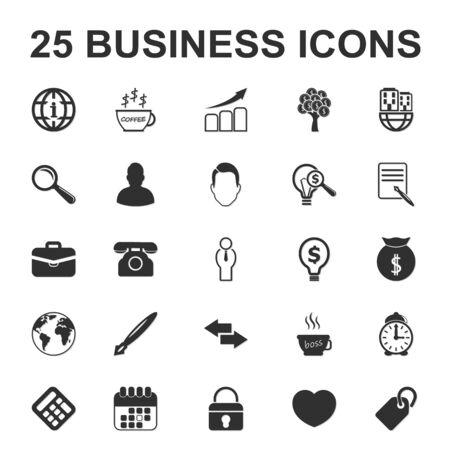 25: business, finance 25 black simple icon set for web design Illustration