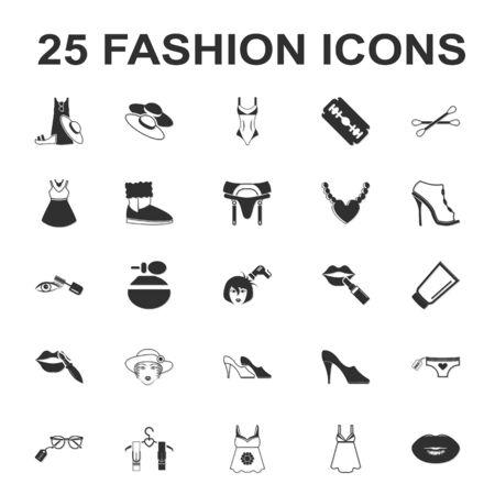 tunic: beauty, shopping, fashion 25 black simple icon set for web design Illustration