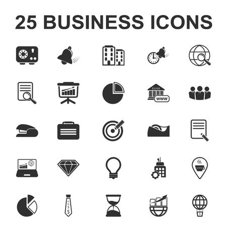 end of the world: business, finance 25 black simple icon set for web design Illustration