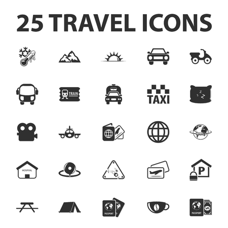 guarded: Travel, vacation 25 black simple icons set for web design
