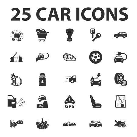 Coches, Reparación de 25 iconos simples conjunto negro para el diseño web