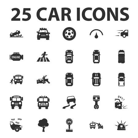 25: Car, repair 25 black simple icons set for web design Illustration