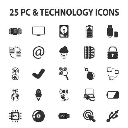 email bomb: Computer, technology, pc 25 black simple icons set for web
