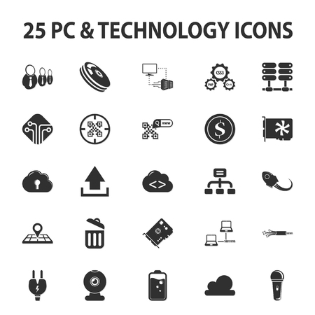 tree disc: Computer, technology, pc 25 black simple icons set for web