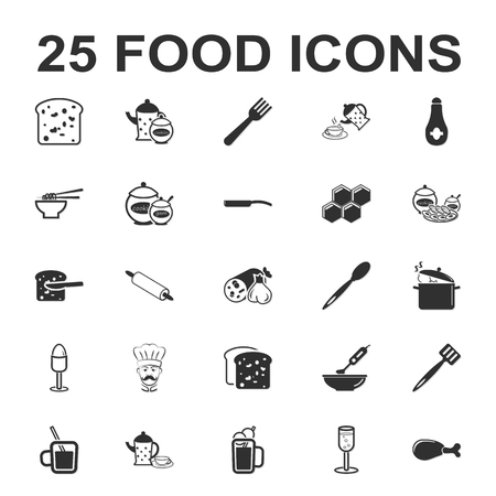 garlic bread: Food, kitchen, cooking 25 black simple icons set for web design