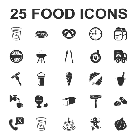 egg cups: Food, kitchen, cooking 25 black simple icons set for web design