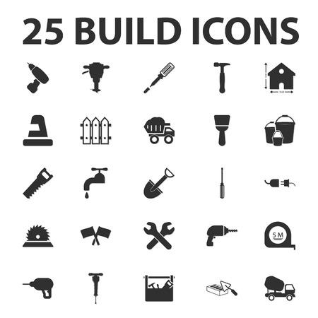 cinta de medir: construir, reparar 25 simples iconos conjunto negro para la web Vectores